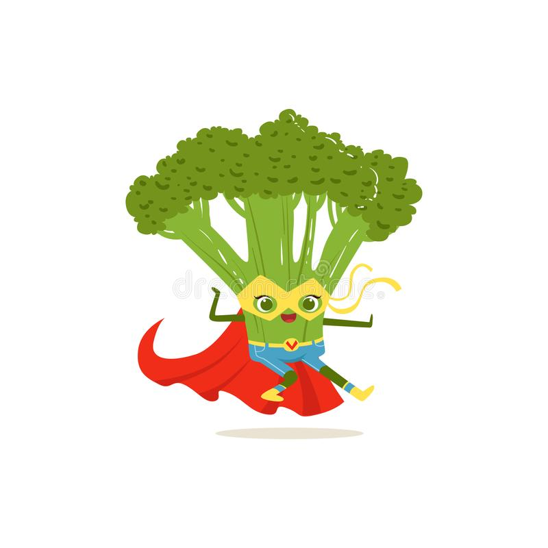 Cartoon character of superhero broccoli in fighter pose. Cartoon character superhero broccoli in classic comics costume, red cape and yellow mask. Karate fighter vector illustration