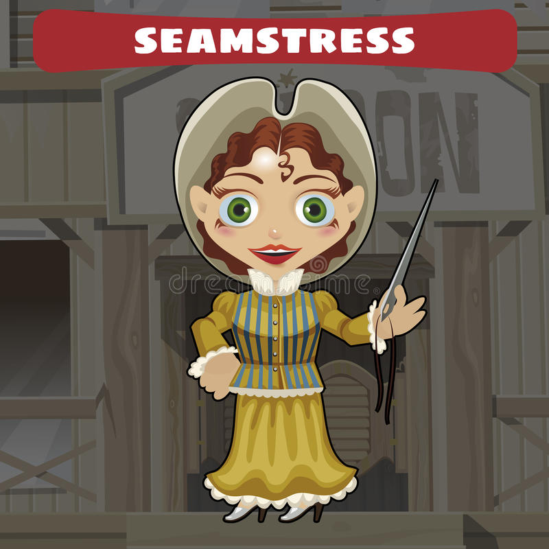 Cartoon character of Wild West - seamstress vector illustration