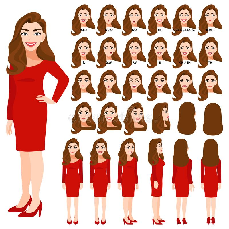 Free Cartoon Character With Business Woman In Red Dress For Animation. Front, Side, Back, 3-4 View Character. Separate Parts Of Body. Royalty Free Stock Photos - 183745508