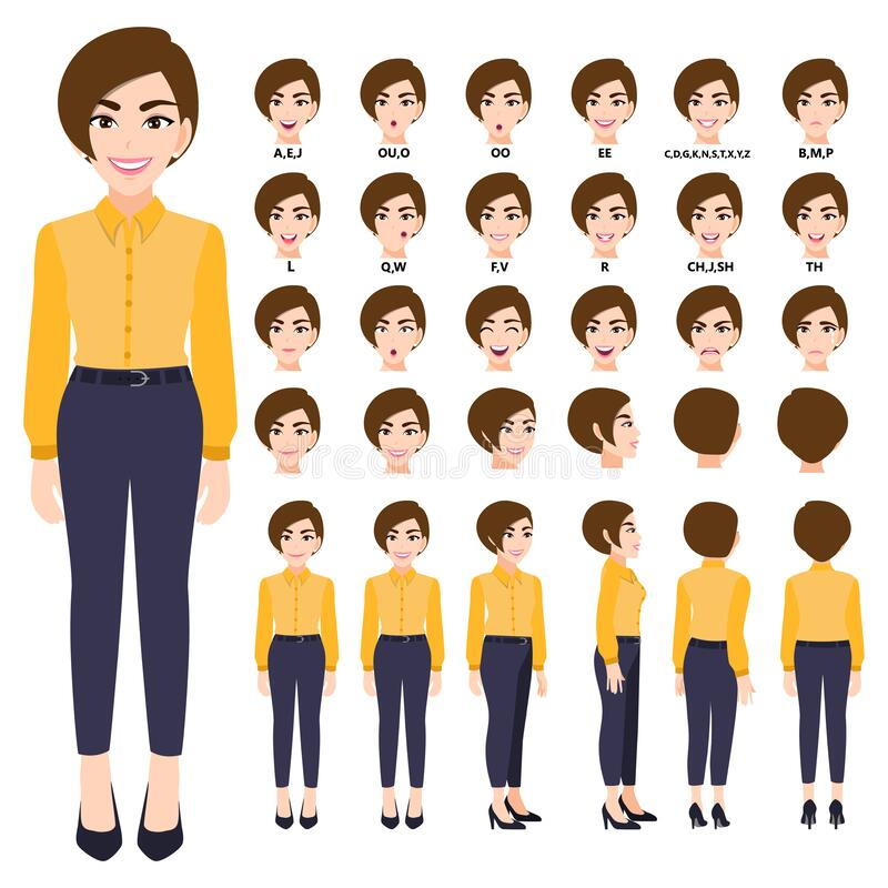 Free Cartoon Character With Business Woman In Smart Shirt For Animation. Front, Side, Back, 3-4 View Character. Separate Parts Of Body Stock Images - 183745414