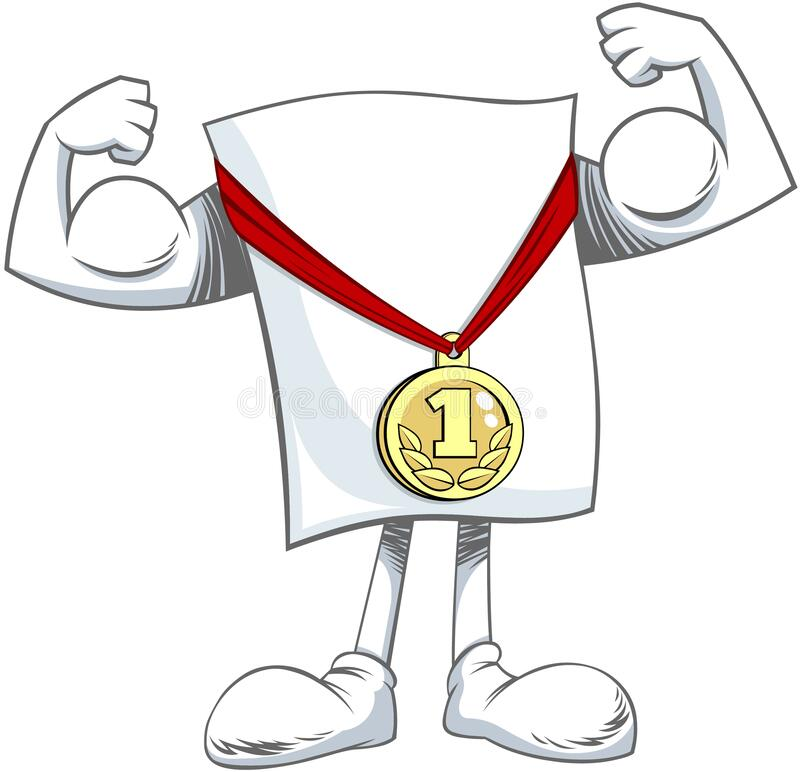 Free Cartoon Character With Medal Royalty Free Stock Photography - 213665367