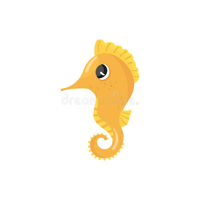 Cartoon character of yellow seahorse. Tropical sea creature. Small marine fish with curled tail. Concept of ocean royalty free illustration