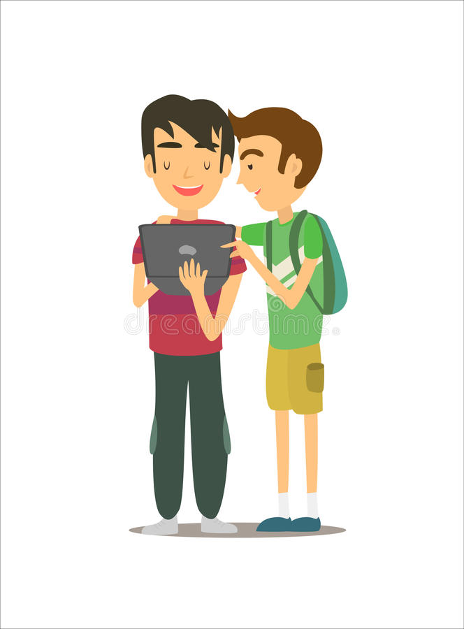 Cartoon character young men with laptop royalty free stock images