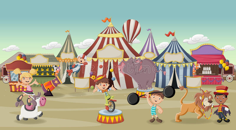 Cartoon characters and animals in front of retro circus royalty free illustration
