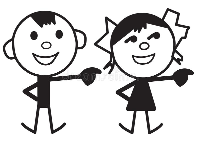 Cartoon characters of boy and girl. Illustration of cartoon characters of boy and girl isolated on a white background royalty free illustration