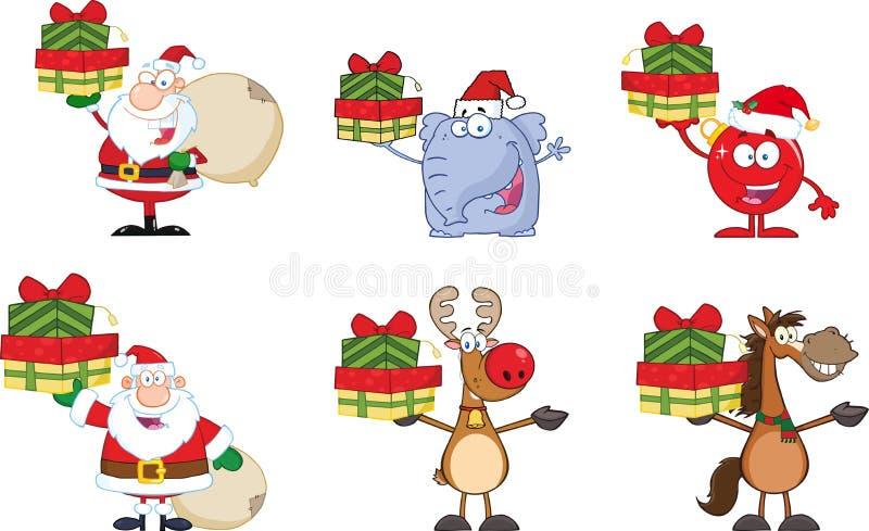 cartoon characters christmas funny illustration vector Комплект собрания иллюстрация штока