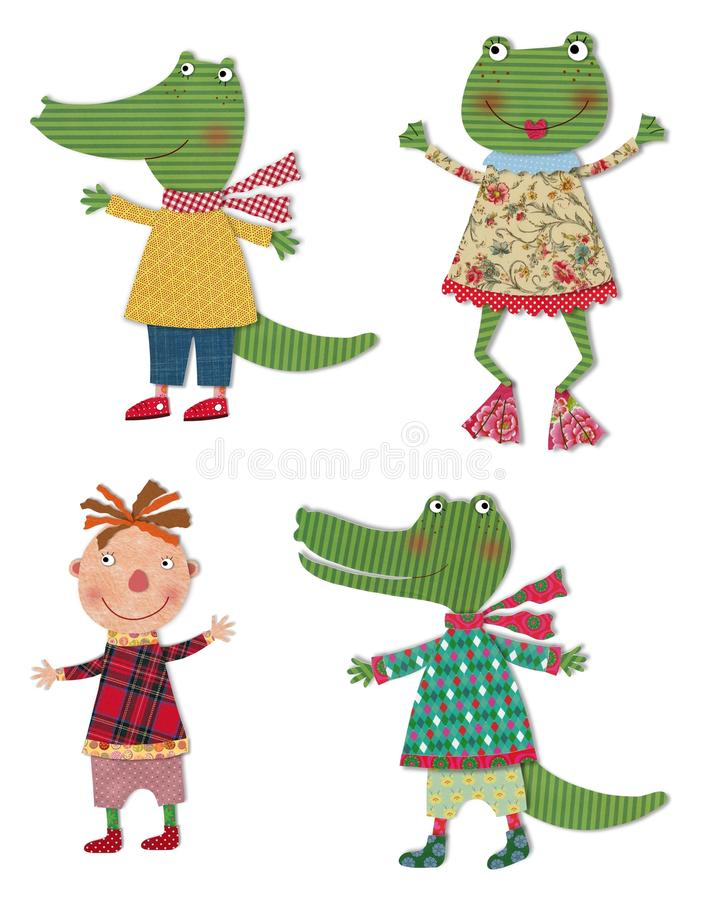 Cartoon characters. Colorful fabric and paper quiltting stock illustration