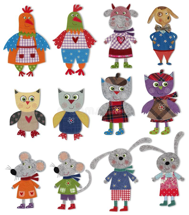 Cartoon characters. Colorful felt and wool quiltting stock illustration
