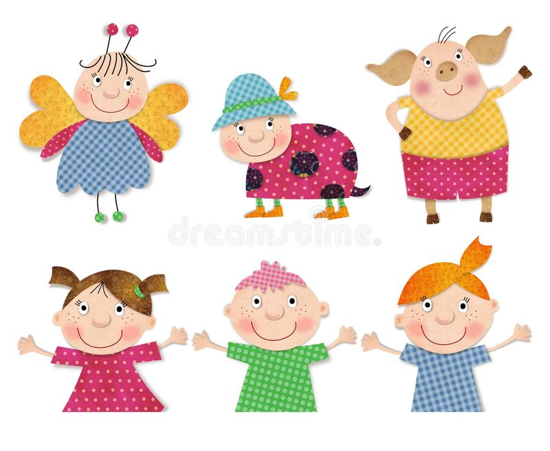 Cartoon Characters. Decorative Elements Stock Illustration