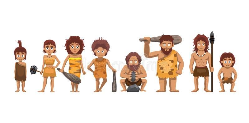 Family Standing Cartoon Vector Illustration Caveman Set stock illustration