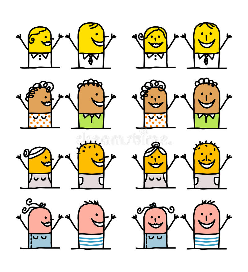 Cartoon characters - happy people stock illustration