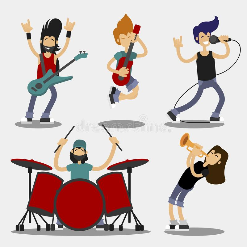 Cartoon Characters People Musicians Icon Set. Vector vector illustration