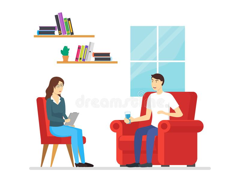 Cartoon Characters People Psychotherapy Counseling Scene. Vector stock illustration
