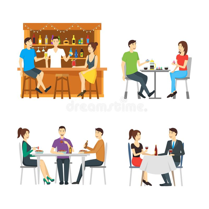Cartoon Characters People in Restaurant Set. Vector stock illustration
