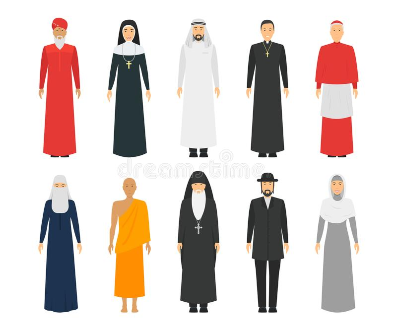 Cartoon Characters Religion People Different Types Set. Vector. Cartoon Characters Religion People Different Types Set Traditional Clothing Concept Element Flat royalty free illustration