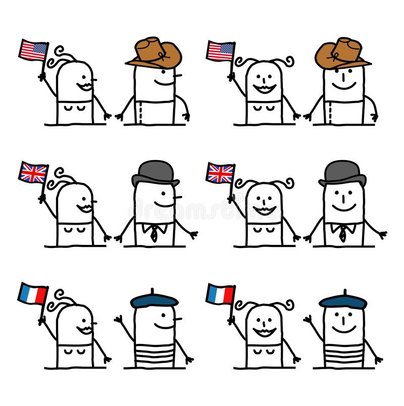 Cartoon Characters Set 1 - Countries and Tradition vector illustration
