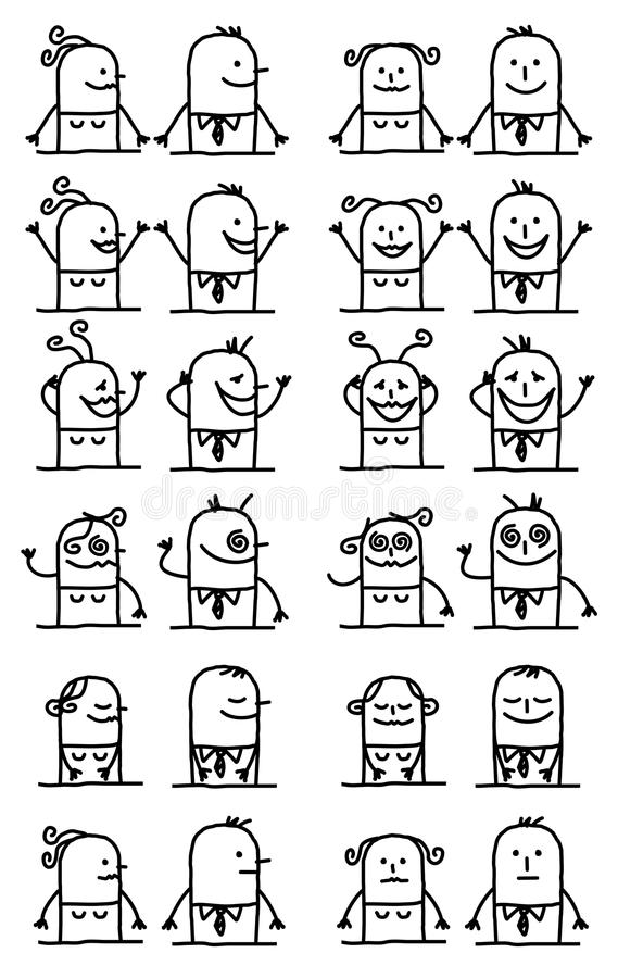 Cartoon Characters Set - Happy and Funny Faces. Vector Cartoon Characters Set - Happy and Funny Faces vector illustration
