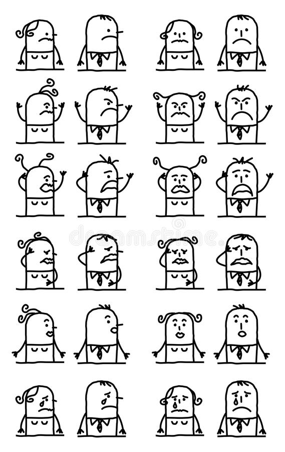 Cartoon Characters Set - Unhappy and Sad Faces. Vector Cartoon Characters Set - Unhappy and Sad Faces stock illustration