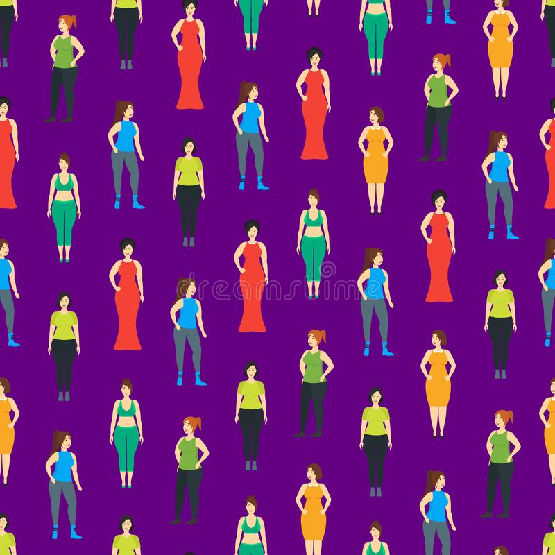 Cartoon Characters Smiling Plus Size Woman Seamless Pattern Background. Vector vector illustration