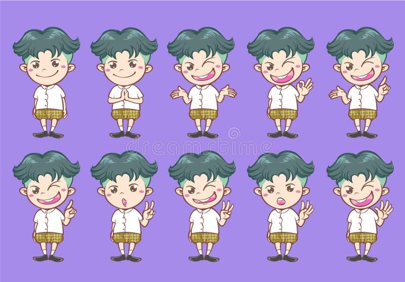 Cartoon characters Thai costume stock photography
