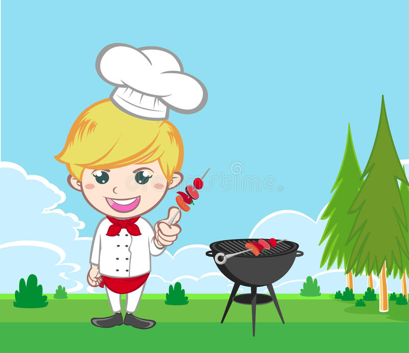 Chef cooking bbq in the gardenCartoon characters royalty free stock photos