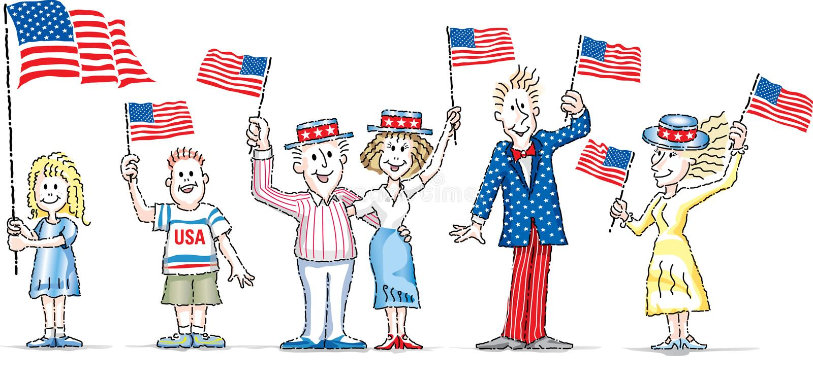 CARTOON CHARACTERS WAVING U.S. PATRIOTIC FLAGS. Cartoon characters waving U.S. flags for holiday celebrations in USA. The men women and children are enthusiastic stock illustration
