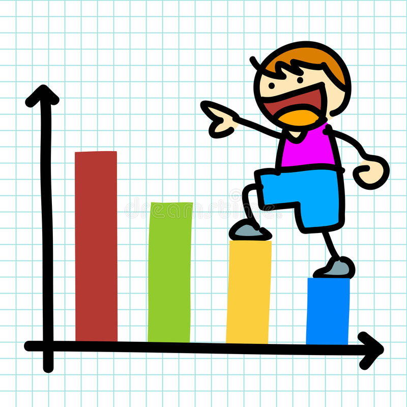 Cartoon charactor and business graph. Vector royalty free illustration