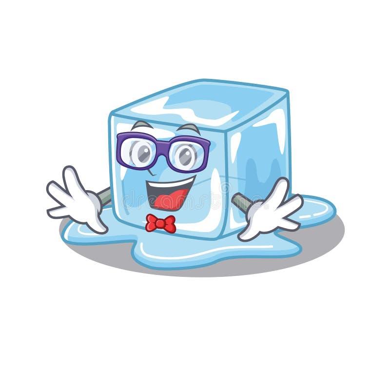 Cartoon-Charakter des Geek-Eiswürfeldesigns stock abbildung
