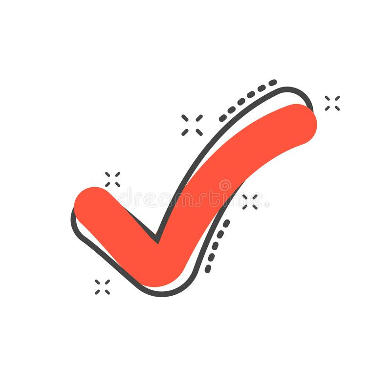 Cartoon check mark icon in comic style. Approved illustration pi vector illustration
