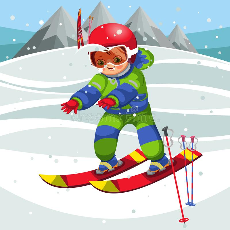 Cartoon cheerful child moving on ski in suit royalty free illustration