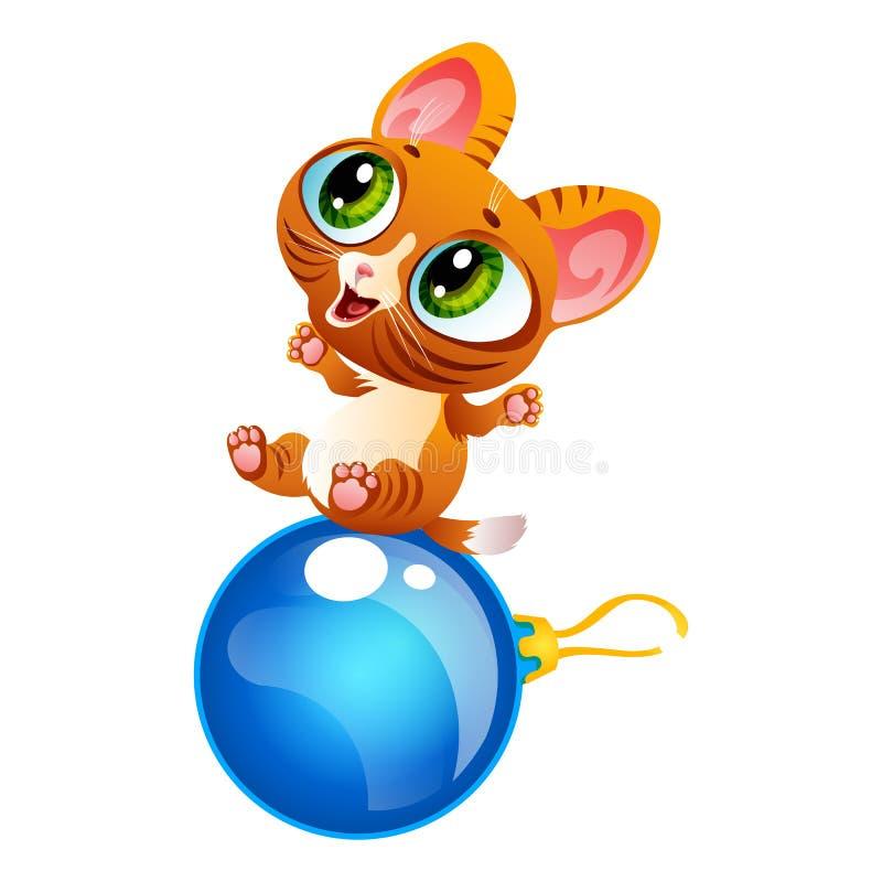 Cartoon cheerful kitty sitting on decoration ball royalty free illustration