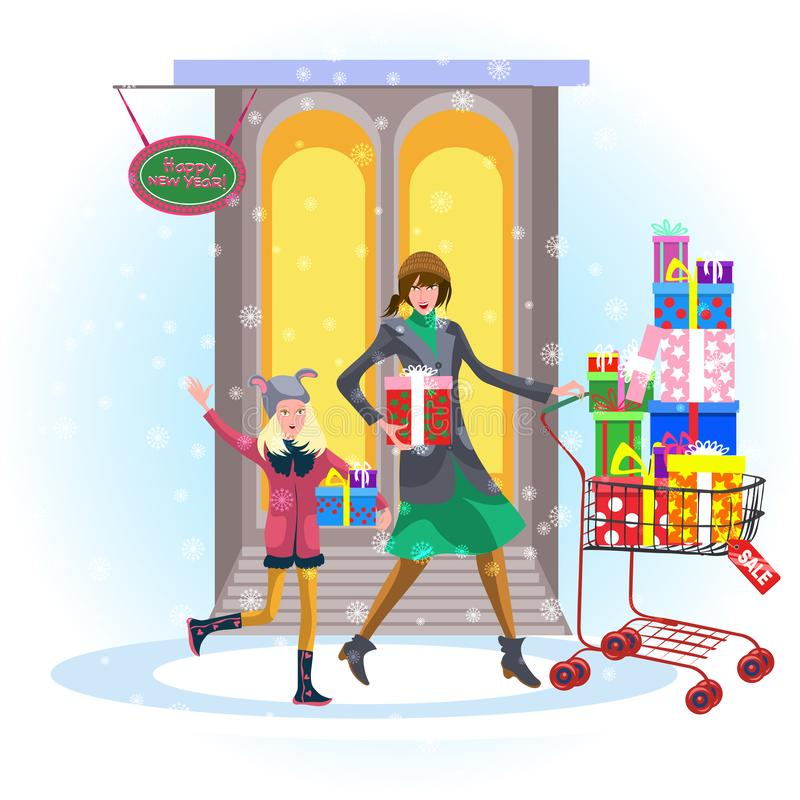 Cartoon cheerful mother with daughter shopping outside royalty free illustration