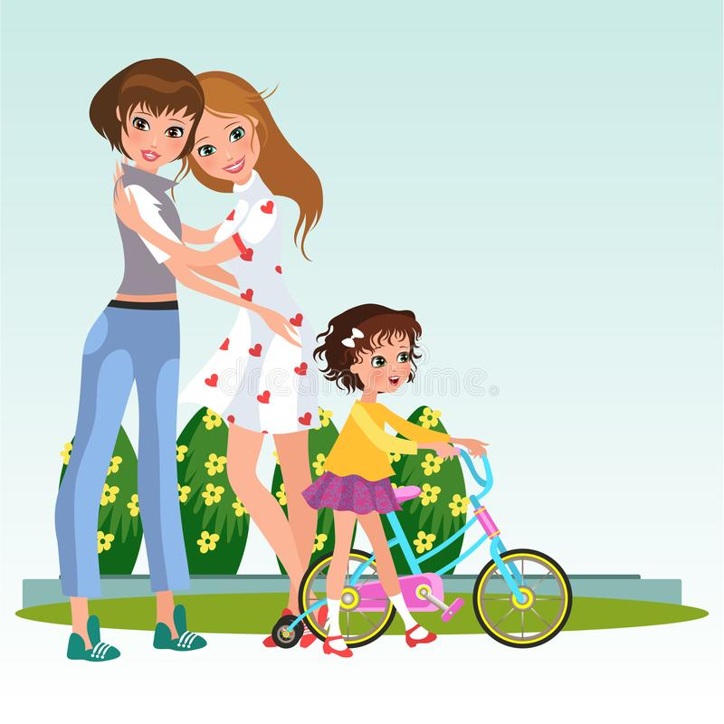 Cartoon cheerful women in love with their babygirl stock illustration