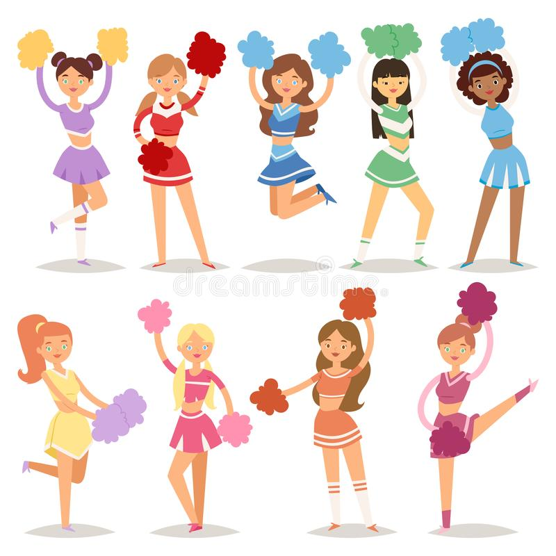 Cartoon cheerleaders girls sport fan dancing cheerleading woman team uniform characters vector illustration stock illustration