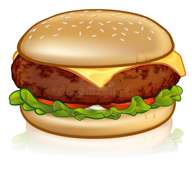 Cartoon Cheese Burger. An illustration of a cartoon cheese burger or hamburger royalty free illustration