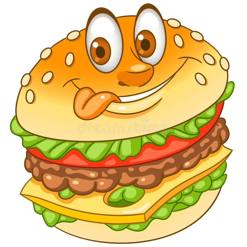 Cartoon cheeseburger burger hamburger vector illustration