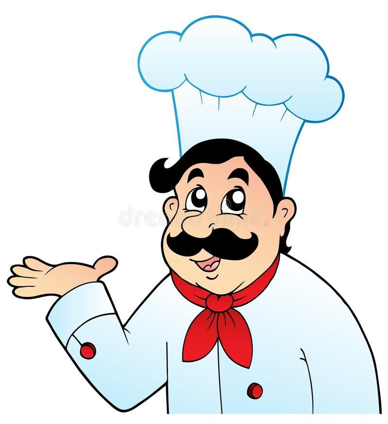 Cartoon chef in big hat stock illustration
