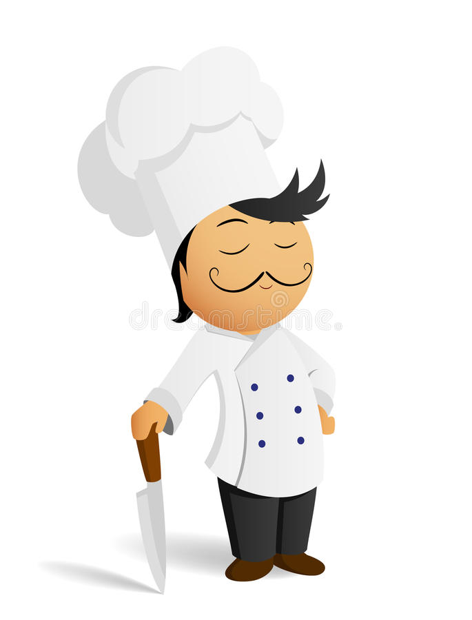 Cartoon chef cook in white hat with knife stock illustration