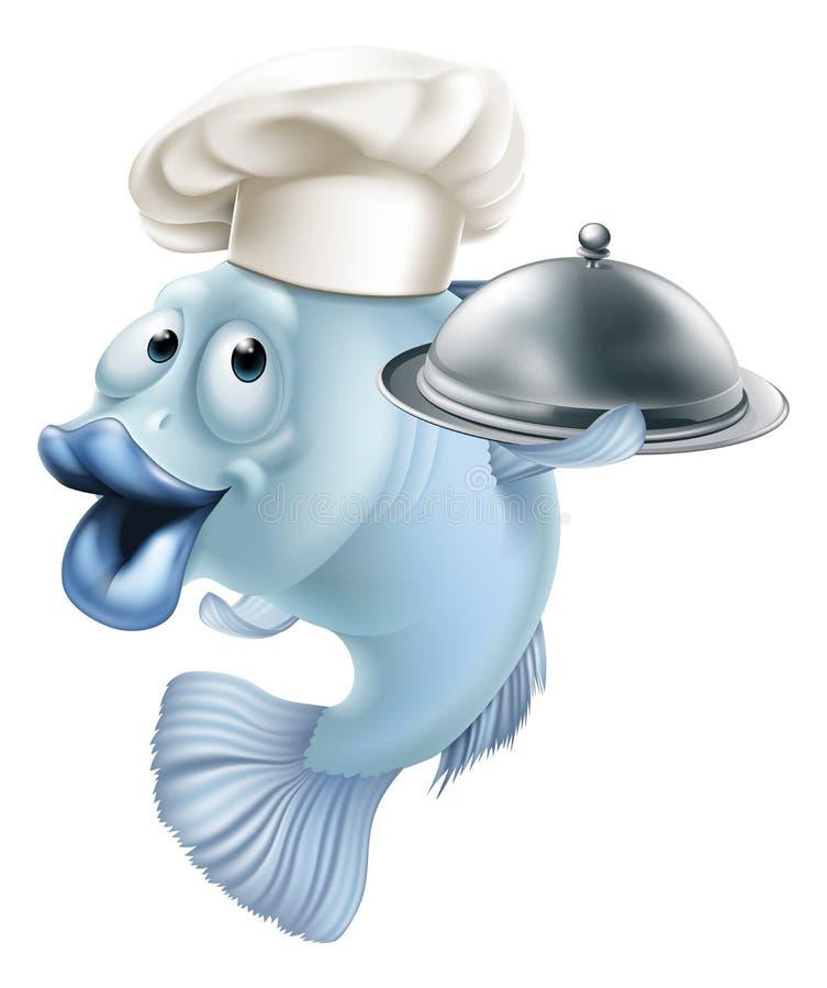 Cartoon chef fish and cloche royalty free illustration