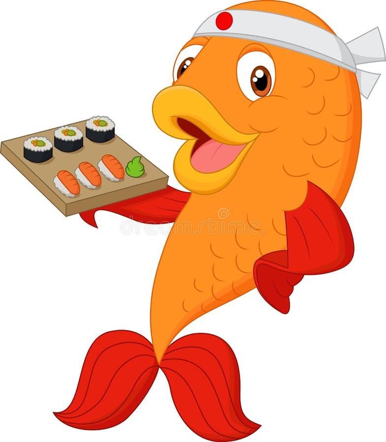 Cartoon chef fish holding sushi. Illustration of Cartoon chef fish holding sushi vector illustration