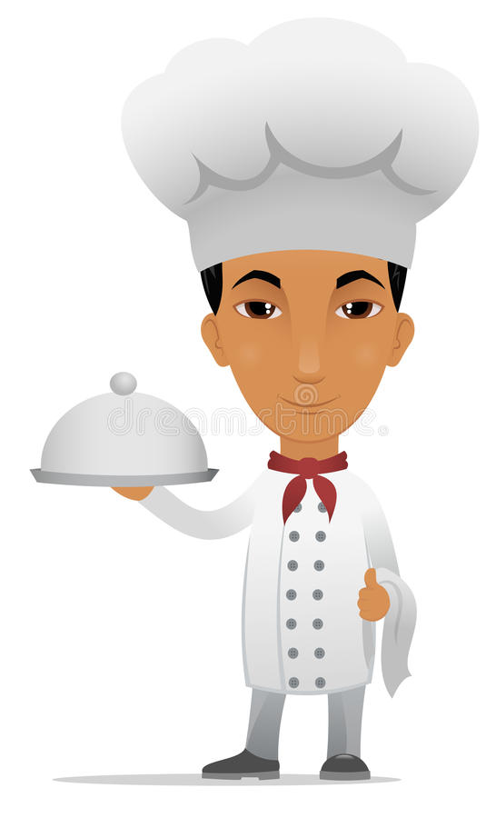 Cartoon chef with main course. A cartoon chef with main course stock illustration