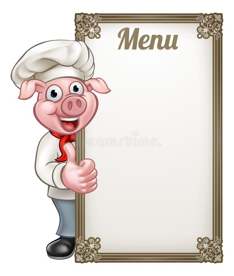 Cartoon Chef Pig Menu. A cartoon pig chef character mascot with a menu sign board giving thumbs up vector illustration