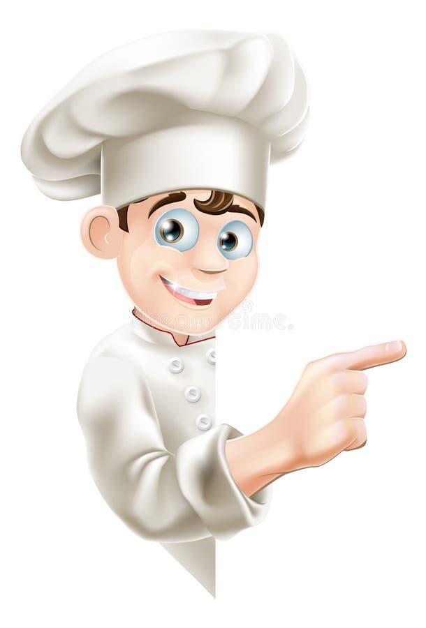 Cartoon Chef Pointing at Sign stock illustration