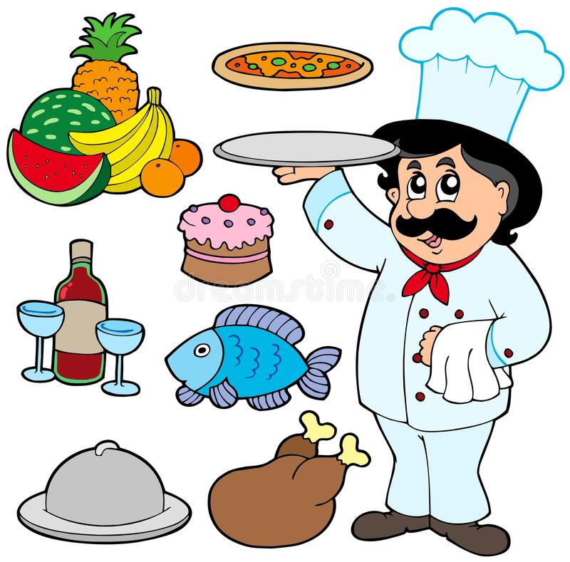 Cartoon chef with various meals vector illustration