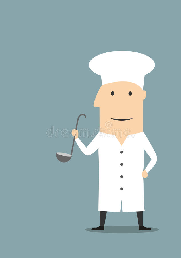 Cartoon chef in white uniform with ladle royalty free illustration