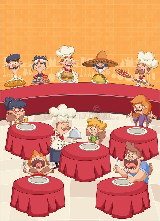 Cartoon chefs cooking and holding tray with food. Restaurant with hungry clients on tables and cartoon chefs cooking and holding tray with food stock illustration