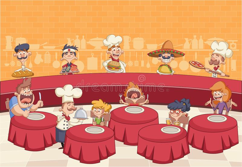Cartoon chefs cooking and holding tray with food. Restaurant with hungry clients on tables and cartoon chefs cooking and holding tray with food royalty free illustration