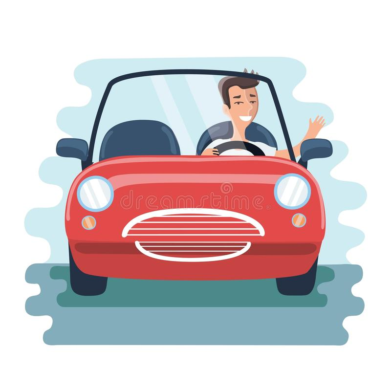 Free Cartoon Chereful Young Man Driving Red Car On The Road. Front View Stock Photography - 91131802