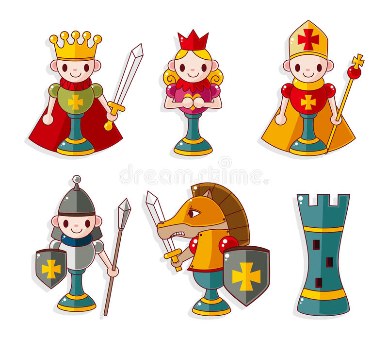 Cartoon chess isolated stock illustration