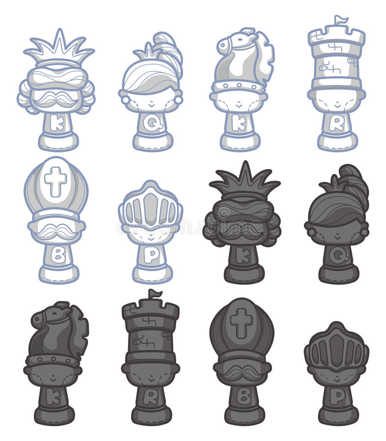 Cartoon chess isolated royalty free illustration